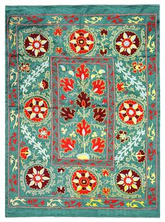 Suzani is the extraordinarily beautiful and intricate embroidery tradition of Uzbekistan. Threads of silk or cotton are dyed vivid colors and stitched into the elaborate designs used to decorate bed covers, table cloths, and other household items. Motifs Textiles, Textile Prints, Textile Patterns, Textile Design, Textile Art, Fabric Art, Wall Fabric, Cotton Fabric, Of Wallpaper