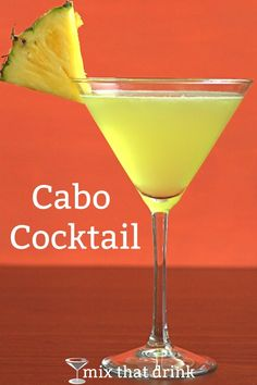 The Cabo Cocktail is tequila with pineapple juice and just a touch of lime. It's similar to some tropical rum-based drink recipes but the tequila makes for a nice change. It's perfect for cooling down in warm weather. Craft Cocktails, Summer Cocktails, Cocktail Drinks, Cocktail Recipes, Drink Recipes, Cocktail Tequila, Martini Recipes, Juice Recipes, Cocktail Glass