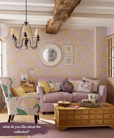 Grape and yellow living room | Laura Ashley