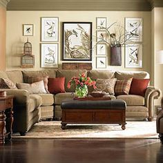 Curved Corner Sectional #bassettfurniture - love the color, shape,small legs, and arms of couch.