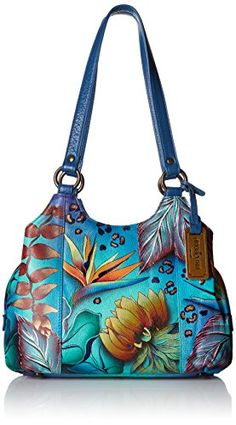 Anuschka Handpainted Leather 469-TRD Triple Compartment Medium Satchel, Tropical Dream, One Size >>> Want additional info? Click on the image.