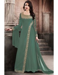 Sea Green Color Traditional Party Wear Look Stylish Georgette Fabric Embroidered Wedding Wear Ethnic Wear Fancy Designer Floor Length Gown Style Salwar Suit Indian Gowns Dresses, Indian Fashion Dresses, Indian Designer Outfits, Abaya Fashion, Pakistani Dresses, Fashion Outfits, Designer Clothing, Cheap Fashion, Stylish Dress Designs