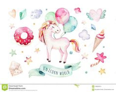 Photo about Isolated cute watercolor unicorn clipart. Illustration of poster, decoration, pink - 100633014 Unicorn Poster, Unicorn Print, Unicorn Kids, Rainbow Unicorn, Watercolor Unicorn, Unicorns, Unicorn Illustration, Clip Art, Kids Poster