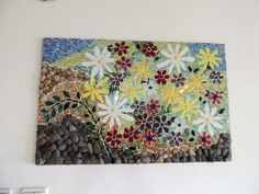 mosaic work, fused glass, glass, stones from the sea shore all combined together. Mosaic Glass, Fused Glass, Glass Art, Lighted Wine Bottles, Bottle Lights, Daisy Image, Delphi Glass, Mosaic Projects, Mosaic Ideas