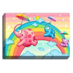 DiaNocheDesigns 'Rainbow Elephants' by Tooshtoosh Painting Print on Wrapped Canvas Size:
