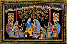 Radha Krishna with Gopinis - Wall Hanging - Folk Art Paintings (Tikuli Painting on Hardboard) Madhubani Art, Madhubani Painting, Rajasthani Painting, Medieval Paintings, Small Canvas Art, Indian Folk Art, Krishna Painting, Indian Art Paintings, Elements Of Art