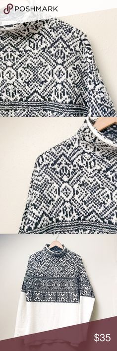 "Fair Isle Cozy Sweater Super cozy fair isle sweater with Nordic flair, black and white patterned on the top half and soft white on the bottom, featuring a loose mock neck/coal and split hem. In like-new condition.  Underarm 2 Underarm: 23"" Shoulder 2 Hem (back): 30"" Shoulder 2 Hem (front): 31""  ✅Bundle & Save 🚫Trades 🚫Off-Posh 🚫Modeling  ✔️All measurements are closest approximation.✔️  💞Shop with ease; I'm a Posh Ambassador.💞 Merona Sweaters"