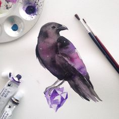 "jorgemurilloc: "" Instagram: @jorgemurillo.c Finally I managed to finish this watercolor tattoo design for my arm. Ive been trying to design something amazing for my forearm. The raven is my spiritual animal and im an old soul so I thought combining..."