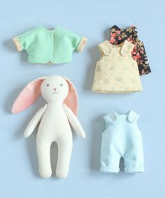 2 PDF: Mini Bunny with Set of Clothes + Basket with Bedding Sewing Pattern — DIY Animal Stuffed Doll, Soft Toy, Dress up Doll, Rabbit Doll - Mandeep Madden Dolls Pdf Sewing Patterns, Sewing Tutorials, Clothing Patterns, Doll Patterns, Sewing Projects, Sewing Tips, Clothes Basket, Ladder Stitch, Dress Up Dolls
