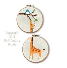 A counted cross stitch kit for a darling giraffe that fits on two embroidery hoops. Your complete needlepoint kit will include an easy pattern