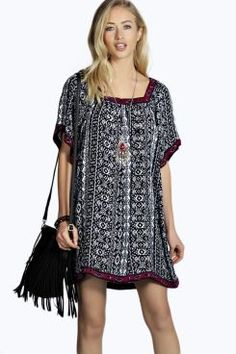 Gina Tapestry Trim Aztec Dress. Grab unbeatable discounts up to 60% Off at Boohoo using Coupon & Promo Codes.