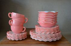 Vintage RARE 28 Pieces Serving Pink Hazel Atlas Plate Saucer Cup Luncheon Set. Crinoline Ripple Ruffled Set. Beaded Cup Large Serving Set on Etsy, $320.00