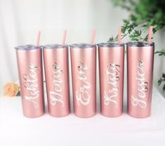 Rose Gold Skinny Tumbler With Straw Personalized Tumbler Bridesmaid Gift Bachelorette Party Gift Par
