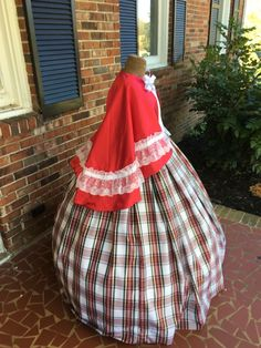 Red Satin & Plaid Taffeta Dickens Costume/Mrs Clause Costume. http://www.cumberlandriversutlery.com/red-amp-white-taffeta-plaid-civil-war-dressdickens-costume.html