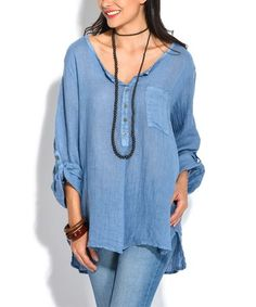 acc457d524d3 Loving this Blue Linen Button-Front Top on  zulily!  zulilyfinds Ladies  Fashion