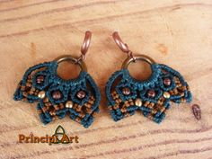 Pendientes macrame laton. Macrame earrings brass. by BySinuhe