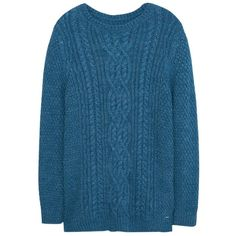 Violeta by Mango Chunky Knit Sweater, Blue ($69) ❤ liked on Polyvore featuring tops, sweaters, thick sweater, long sleeve tops, blue jumper, blue sweater and blue long sleeve top