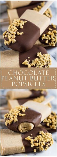 Chocolate Peanut Butter Yoghurt Popsicles