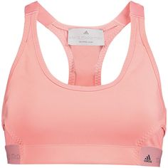 Adidas by Stella McCartney The Pull On stretch-jersey sports bra ($55) ❤ liked on Polyvore featuring activewear, sports bras, blush, adidas, racer back sports bra, adidas sports bra, adidas activewear y red sports bra