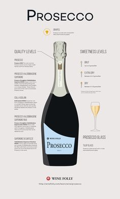 Prosecco Wine: taly's number one sparkling wine comes from Northeastern Italy and uses a different winemaking method than Champagne. The best Prosecco wines are noted from the sub-region of Valdobbiadene Guide Vin, Wine Guide, Mets Vins, Wine Folly, Wine Education, Wine Cocktails, Champagne Drinks, Wine Cheese, Cheese Art