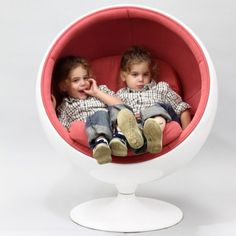 Not that we have the budget for this but the kids would LOVE this chair and it would look so cute! Eero Aarnio Style Kids Ball Chair in Pink | Overstock.com