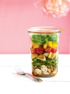 Balsamic Grilled Chicken Salad in a Jar... a great portable meal!  Two other wonderful tasty salad recipes on the same web page... Asian Primavera and Basil Chicken and Berries.