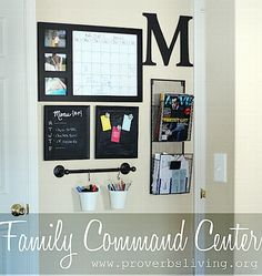 Awesome DIY Family Command Centers Awesome DIY Family Command Center Ideas - If you're not familiar with the idea of a Family Command Center, it's basically just a one stop family organization area. Here are a few examples that I find inspiring