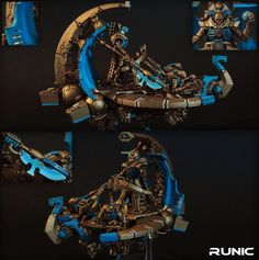 CoolMiniOrNot - Necron Catacomb Command Barge by Runic Warhammer 40k Necrons, Catacombs, Tabletop Games, Figs, Rust, Miniatures, Blue, Painting, Board Games