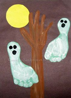 Handprint and Footprint Arts & Crafts: Halloween Handprint & Footprint Ghosts. Very cool! (Hang on! The tree is a hand and arm!)    #halloween #kids #kidscrafts #footprints #painting #handprints