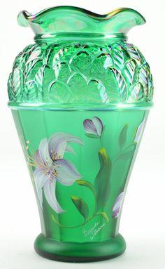 Fenton Glass Collectible Green Iridescent Vase Designer Showcase Series 2001