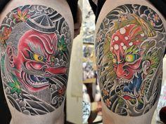 the tattoo on her ribs was her first tattoo, then we added the thigh, and we are gonna do one side of her chest next. Tengu Tattoo, Hanya Tattoo, C Tattoo, Tattoo Hurt, Irezumi Tattoos, Body Art Tattoos, Geisha Tattoos, Japanese Mask Tattoo, Remember Tattoo