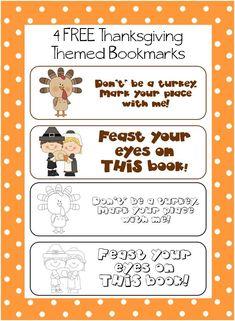 Classroom Freebies: Thanksgiving Bookmarks