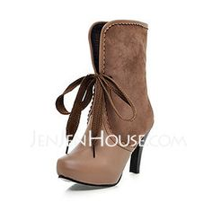 Leatherette Stiletto Heel Closed Toe Platform Ankle Boots Boots (055013677) - JenJenHouse.com