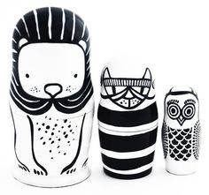 Black and white nesting dolls by Wee Gallery /// The A & B Stories