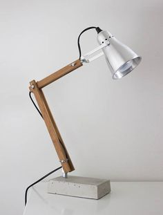 DIY industrial style wooden desk lamp