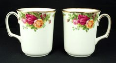 2 Royal Albert Old Country Roses Beaker Coffee Mugs 1st Quality VGC
