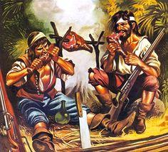 """Pirates eating meat""- La Pintura y la Guerra. Sursumkorda in memoriam Pirate Art, Pirate Life, Peter Pan Art, Golden Age Of Piracy, Miraculous, Pirate Tattoo, Vampire Stories, Creta, Pirate Wench"