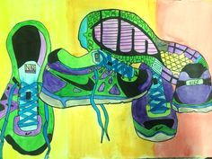 6th Grade Contour line shoes from observation (Pencil, watercolor, and sharpie)