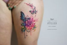 Rosen & Schmetterling - Aquarell Tattoo