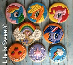 Facebook.com/lifeissweetcookie. My Little Pony 4th birthday cookies