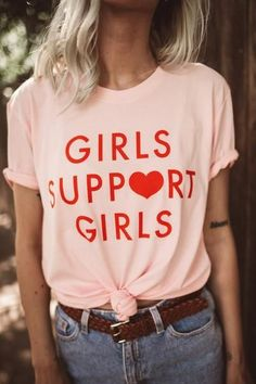 Girls Support Girls Tee - Slogan T Shirt - Ideas of Slogan T Shirt - Collar: CrewSleeve Length(cm): ShortMaterial: CottonPattern Type: PrintClothing Length: RegularSleeve Style: RegularItem Type: TopsTops Type: TeesGender: Women Nude Tees, T Shirt Designs, Statement Tees, Girls Tees, Shirts For Girls, Mode Inspiration, Mode Style, Girl Boss, Boss Babe
