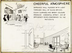 CHEERFUL ATMOSPHERE… The architect's ambition of transforming society through better buildings. KR (Explanatory drawing for Finsbury Health Centre, London by Tecton, Architecture Drawings, Modern Architecture, Glass Brick, Building Design, Centre, Health, Town Hall, Ambition, England