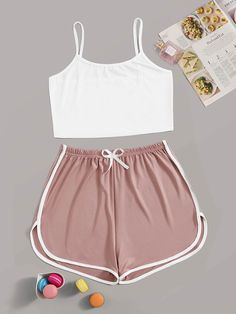 Shop Contrast Binding Cami PJ Set at ROMWE, discover more fashion styles online. Cute Lazy Outfits, Teenage Outfits, Outfits For Teens, Stylish Outfits, Batman Outfits, Formal Outfits, Rock Outfits, Emo Outfits, Cute Sleepwear