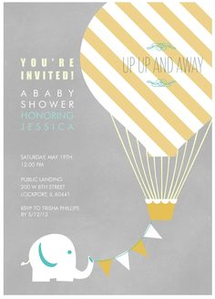 hot air balloon baby shower invites | The Sweet Survival: My Sister's Gender Neutral Baby Shower
