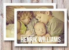 Birth Announcement Photo Card  Welcome 7x5 by johnsonmade on Etsy. , via Etsy.