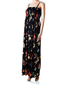 2b8f86e622c0 Dlhé čierne maxi-šaty na ramienka Dlhé letné padavé maxi-šaty s potlačou  farebných