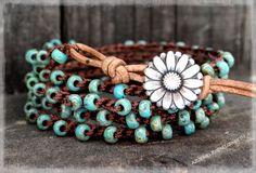 Seed Bead Bracelet, Crochet Wrap Bracelet, Leather Bracelet, Beaded Wrap…