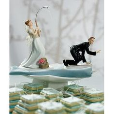 Gone Fishing Caucasian Cake Topper-Bride and Groom,