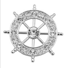 💰FIRM💰Silver Nautical Brooch Ahoy! For all the sea lovers out there this is the perfect brooch! Measures approx 1 in. All around. Please feel free to ask questions. No holds, trades, or pp. Thank you! Jewelry Brooches