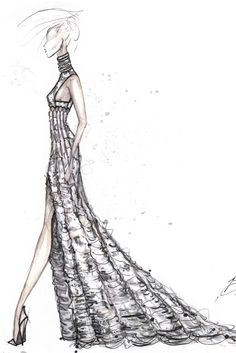 Fashion illustration - long couture dress drawing; striking fashion sketch